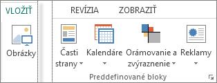 Snímka obrazovky so skupinou Preddefinované bloky na karte Vložiť v Publisheri
