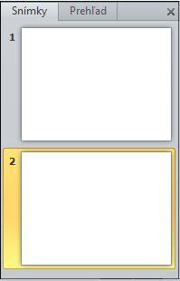Tabla obsahujúca karty Prehľad a Snímky