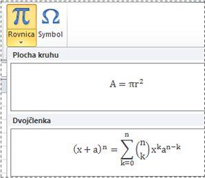 Vopred naformátované rovnice v zozname rovníc