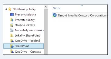Nájdenie synchronizovaných knižníc lokality v obľúbených položkách priečinku SharePointu