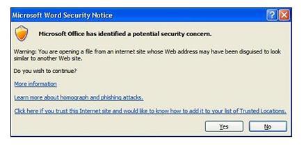Hlásenie programu Outlook pri kliknutí na prepojenie na podozrivú lokalitu