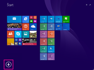 Kliknite na šípku vľavej dolnej časti obrazovky