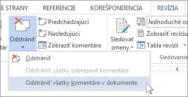 Príkaz Odstrániť všetky komentáre v dokumente v ponuke Odstrániť komentár