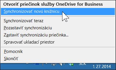 Ponuka OneDrive for Business v oblasti oznámení Windowsu