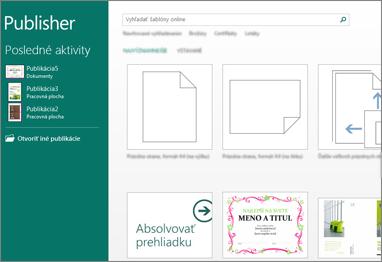 Snímka obrazovky s úvodnými šablónami v Publisheri
