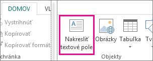 Snímka obrazovky s možnosťou Nakresliť textové pole v Publisheri