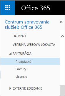 Prepojenie na stránku Predplatné vslužbách Office 365 Small Business Premium.