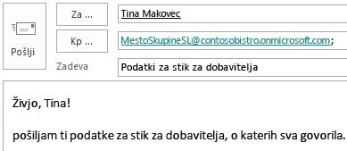 E-poštno sporočilo z nabiralnikom mesta, vključenim v polju »Kp«.