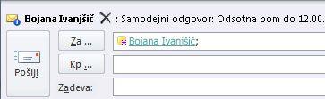 Opozorilo funkcije »Namigi za pošto« za prejemnika, ki ni v pisarni