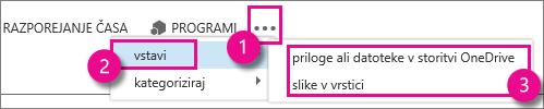 Gumb »Več dejanj« v programu Outlook Web App