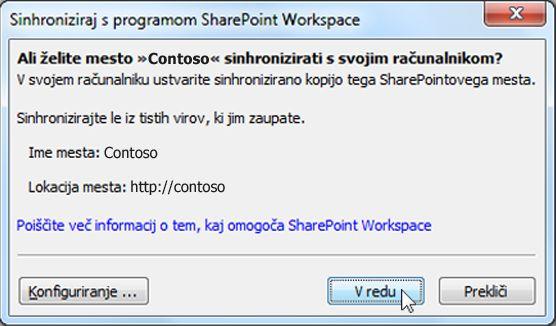 Pogovorno okno »Sinhronizacija z računalnikom«