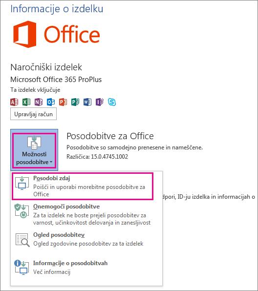 Ročno preverjanje posodobitev za Office v Wordu 2013