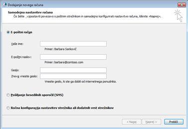 Pogovorno okno za dodajanje novega računa z izbranim e-poštnim računom