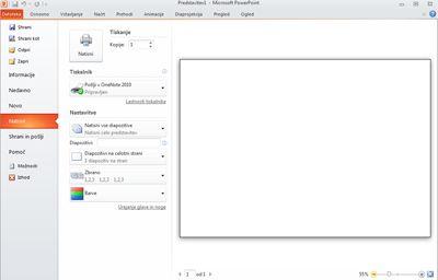 Zavihek »Datoteka« v PowerPointu 2010, ogled možnosti »Natisni«.