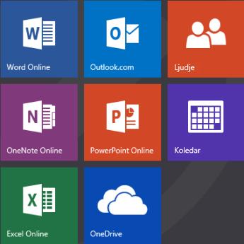 Začetni zaslon Office.com