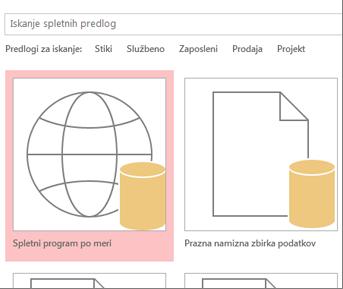 Gumb »Spletni program po meri« na zagonskem zaslonu.