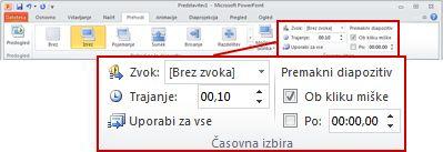 Skupina »Časi« na zavihku »Prehodi« na traku PowerPointa 2010.