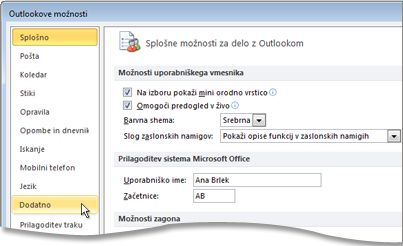 Ukaz »Dodatno« v pogovornem oknu »Outlookove možnosti«