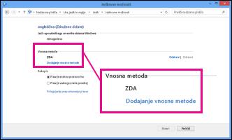 Dodajanje vnosne metode v sistemu Windows 8