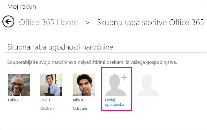 Posnetek zaslona strani za skupno rabo storitve Office 365 z izbrano možnostjo »Dodaj uporabnika«.