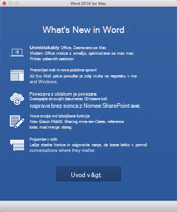 What's New screen when you first start an Office app you just installed