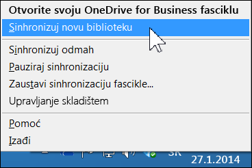 "Meni ""OneDrive for Business"" u oblasti za obaveštenja u operativnom sistemu Windows"
