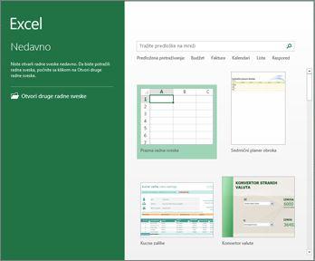 Neki od predložaka dostupnih u progamu Excel