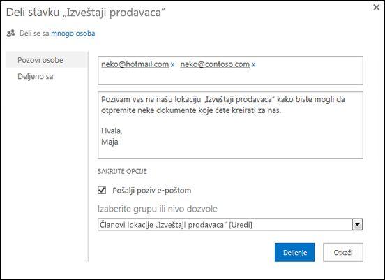 """Slika dijaloga """"Deljenje"""" za lokaciju sa korisničkim imenima za spoljne korisnike."""