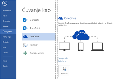 Čuvanje datoteka u usluzi OneDrive