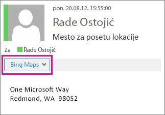 Outlook poruka sa prikazanim Bing mapama