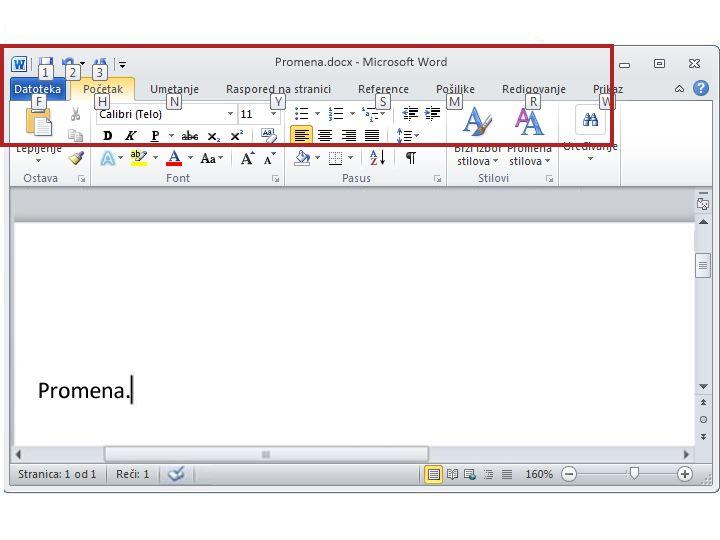 """Kartica """"Početak"""" u programu Word 2010 sa prikazanim savetima o tasterskim prečicama"""