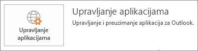 Upravljanje aplikacijama za Outlook
