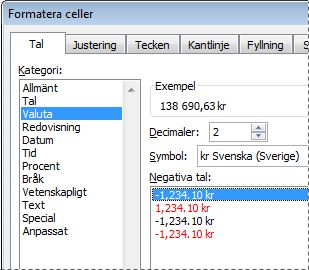 Dialogrutan Formatera celler