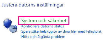 Länken Windows 8 System och säkerhet i Kontrollpanelen