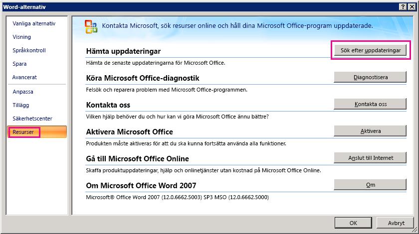 Söka efter Office-uppdateringar i Word 2007