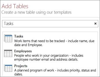 Sökrutan för tabellmallar på välkomstskärmen i Access.