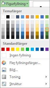 Meny för färgalternativ för figurfyllning