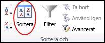 Kommandot Sortera i gruppen Sortera och filtrera på fliken Data i Excel