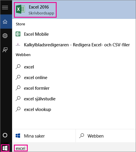 Start a Windows 10 search looking for apps or on the web