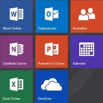 Startskärmen på Office.com