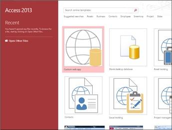 Välkomstskärmen i Access, med mallsökrutan samt knapparna Anpassat webbprogram och Tom skrivbordsdatabas markerade