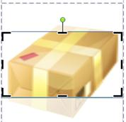 ClipArt som visar beskärningsramen och -handtagen i Publisher 2010