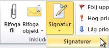 Kommandot Signaturer i menyfliksområdet