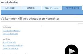 Skärmen Komma igång för mallen Webbdatabasen Kontakter