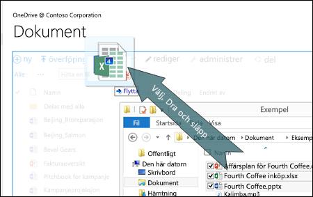 Dra och släpp för att överföra filer till OneDrive