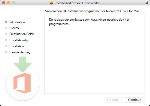 """Den första installationsskärmen på Mac 2016 med """"Fortsätt"""" markerat"""