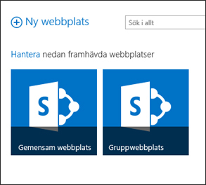 Office 365-webbplatssida, med paneler för Gruppwebbplats och Offentlig webbplats