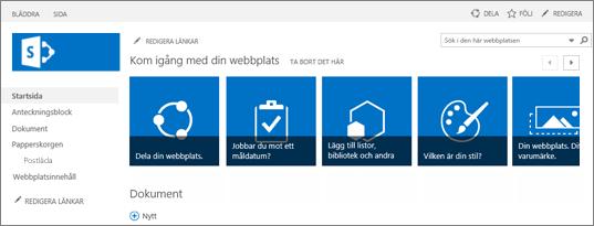 Skärmbild av gruppwebbplatsen för SharePoint 2013