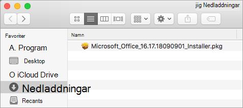 Ikonen Hämtningsbara filer i Dock visar installationspaketet för Office 365