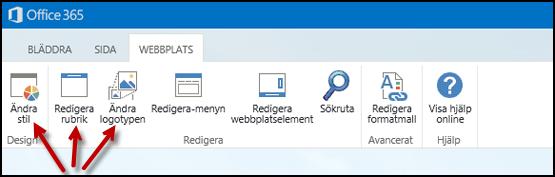 Menyfliksområdet på fliken Webbplats för en offentlig webbplats, med knappar för Ändra utseendet, Redigera rubrik och Ändra logotypen